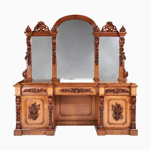 Large 19th Century Victorian Carved Oak Mirror Back Sideboard