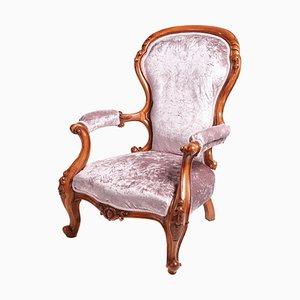 Antique Victorian Carved Walnut Armchair