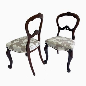 Antique Victorian Walnut Cabriole Legged Side Chairs, Set of 2