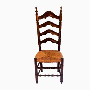 Antique French Ladder Back Oak Dining Chairs, Set of 6