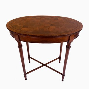 Antique Oval Walnut Chequered Table
