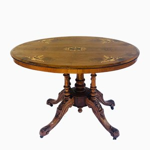 Antique Victorian Oval Walnut Inlaid Centre Table