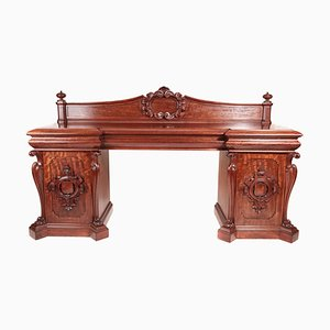 Large Antique William IV Antique Carved Mahogany Sideboard