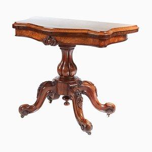 Antiker viktorianischer Kartentisch aus Walnuss-Wurzelholz