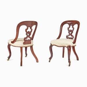 Antique Victorian Mahogany Dining Chairs, Set of 4