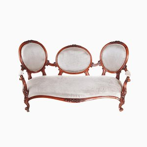 Victorian Carved Walnut Cameo Back Settee