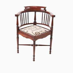 Chaise d'Angle Édouardienne Antique en Acajou Marqueté