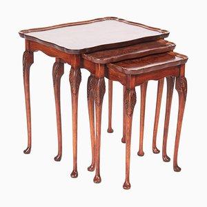 Antique Burl Walnut Nesting Tables, 1920s