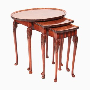 Antique Burl Walnut Nesting Tables, 1920s