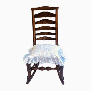 Rocking Chair Antique avec Dossier Échelle en Chêne