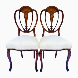 Antique Victorian Inlaid Mahogany Side Chairs Side Chairs, Set of 2