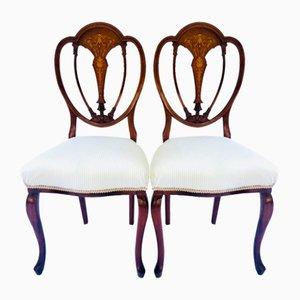Chaises d'Appoint Victoriennes Antique en Acajou Marqueté, Set de 2