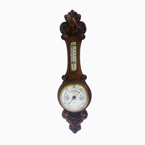 Antikes Banjo Barometer aus geschnitztem Walnuss Aneroid