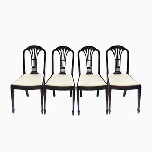 Antique Mahogany Carved Dining Chairs, Set of 4