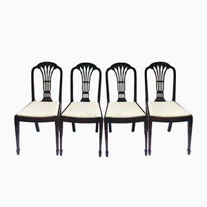 Geschnitzte antike Esszimmerstühle aus Mahagoni, 4er Set