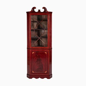 Antique Mahogany Inlaid Corner Cabinet