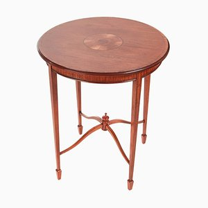 Round Antique Inlaid Satinwood Occasional Table