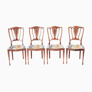 Edwardian Mahogany & Rosewood Inlaid Dining Chairs, Set of 4