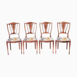 Edwardische Esszimmerstühle aus Mahagoni & Palisander mit Intarsien, 4er Set