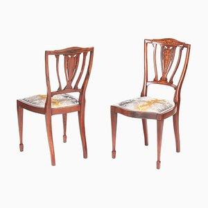 Edwardian Mahogany & Rosewood Inlaid Side Chairs, Set of 2