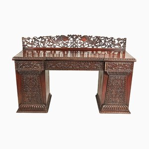 Small Carved Anglo-Indian Padouk Pedestal Sideboard