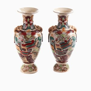 Antike Satsuma Vasen, 2er Set