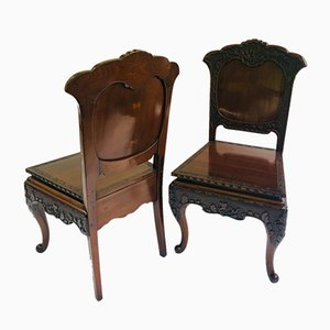 Antique Carved Chinese Hall Chairs, Set of 2
