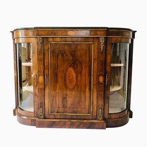 Antique Victorian Burr Walnut Inlaid Credenza