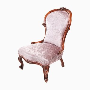 Antique Victorian Carved Walnut Ladies Chair