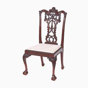 Chaise de Bureau Antique en Acajou Sculpté