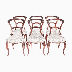 Victorian Carved Rosewood Dining Chairs, Set of 6