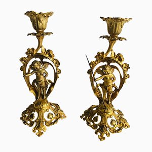 Victorian French Ornate Gilded Candlesticks, Set of 2