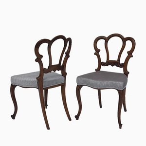 Victorian Walnut Side Chairs, Set of 2