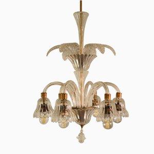 Lampada da soffitto in vetro di Murano con sei luci di Ercole Barovier per Barovier & Toso, anni '30
