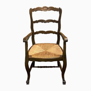 Louis XV Style Beech and Straw Lounge Chair, 1950s
