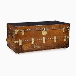 Antique French Leather Trunk from Louis Vuitton, 1920s