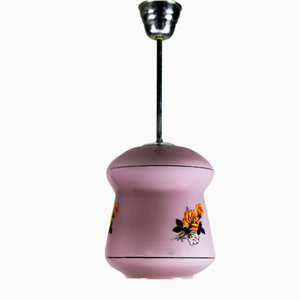 Small Violet Glass Pendant Lamp from EMI, 1940s