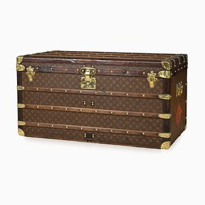 Antique French Monogrammed Courier Trunk from Louis Vuitton, 1910s