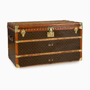 Antique French Monogrammed Courier Trunk from Louis Vuitton, 1930s
