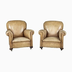 19th Century French Leather Club Chairs, Set of 2