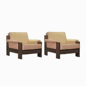 Dutch Solid Oak and Camel Colored Leather Lounge Chairs by Harry de Groot for Leolux, 1970s, Set of 2