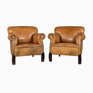 Vintage Dutch Sheepskin Leather Club Chairs, Set of 2
