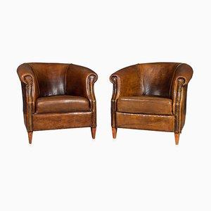 Vintage Dutch Sheepskin Leather Club Chairs, Set of 2