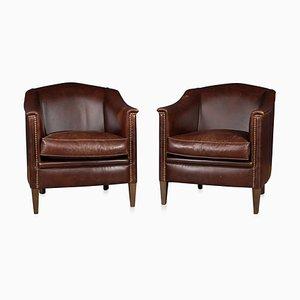 Vintage Dutch Dark Sheepskin Leather Club Chairs, Set of 2