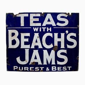 Cartel antiguo esmaltado de Beachs Jam