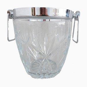 Großer Mid-Century Eiskübel aus geschliffenem Kristallglas, 1960er