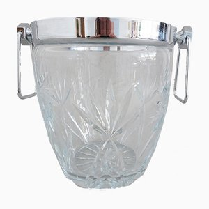Large Mid-Century Cut Crystal Glass Ice Bucket, 1960s