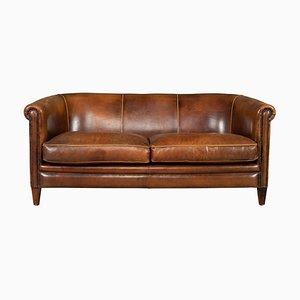 Vintage Dutch Tan Leather 2-Seater Sofa