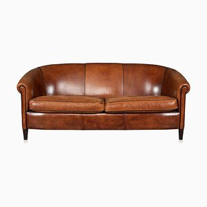 Vintage Dutch Sheepskin Leather 3-Seater Sofa