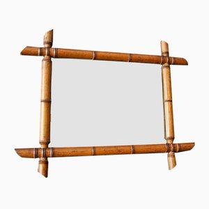 Vintage Spiegel in Bambus Optik, 1920er